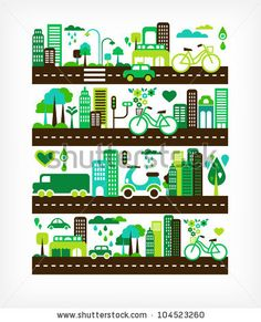 stock vector : green city - environment and ecology