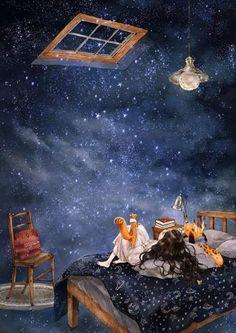 별 내리는 밤 (starry night) te amo art, illustration art 및 anime Art And Illustration, Her Wallpaper, Art Mignon, Illustrator, Forest Girl, Moon Art, Anime Art Girl, Cartoon Art, Cute Wallpapers