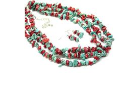 Southwestern Turquoise & Coral Natural Stone Multi-Strand Necklace & Earrings