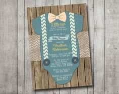 Boy Baby Shower Invitation Blue Onesie Bow Tie Suspenders Burlap Chevron Polkadot Wood Shabby Rustic Printable Custom Digital