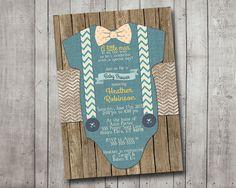 Boy Baby Shower Invitation Blue Onesie Bow Tie by MintedPress