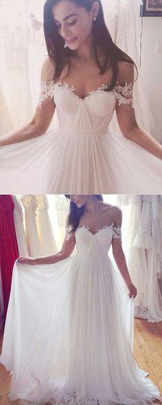 A-line Illusion Bateau Short Sleeves Floor-Length Beach Wedding Dress with Appliques #summerwedding #weddingdresses #shoppingonline