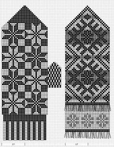 Mustrilaegas: A Kudumine / Knitting Knitted Mittens Pattern, Knitting Paterns, Fair Isle Knitting Patterns, Knit Mittens, Knitting Charts, Knitting Stitches, Mitten Gloves, Knitting Socks, Knitting Needles