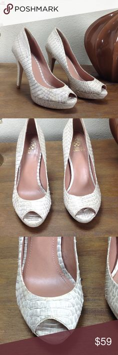 Vince Camuto Cream Leather Snakeskin Embossed Heel Beautiful cream platform snakeskin embossed leather heels that have textured snakeskin feel. Features 4 inch leather covered heel and 3/4 toe platform. They are in good condition with some discoloration (see pics). Thanks for your interest!  Please take a look at the rest of my closet. Vince Camuto Shoes Platforms