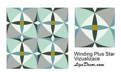 Patchwork Winding Plus Star - Patchworková šablona LizaDecor #šablony #střihy #tutorial #video #windingways