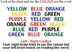 Here is a fun trick! Try to say the color's not the words. Your right side of your brain says to say the color but the left side insists on reading the word. VERY hard! Left Brain Right Brain, Brain Gym, Funny Reading Quotes, Funny Quotes, Stupid Quotes, Funny Memes, The Words, Stroop Effect, Look At You