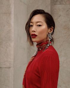 PFW 2019 Chloe Red Sweater with Oversized Earrings Pelo Editorial, White Lace Skirt, Aimee Song, Song Of Style, Celebrity Hair Stylist, Good Hair Day, Red Carpet Looks, Red Sweaters, Holiday Fashion