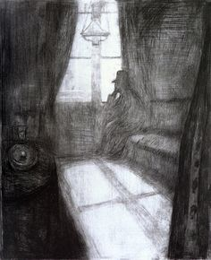 Edvard Munch - Moonlight (1895). In his early years Munch painted many images of people in their homes.