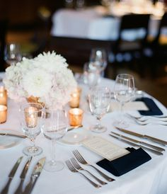 Table Setting - like this but with black and white striped napkins and gold chargers