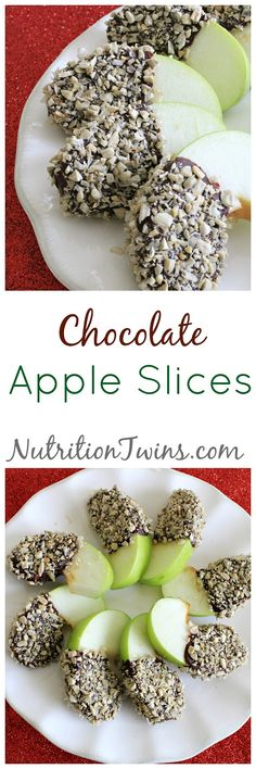 Chocolate Apple Slices | Only 73 Calories | Healthy treat | Great for #Holidays | For Nutrition & Fitness Tips &MORE RECIPES please SIGN UP for our FREE NEWSLETTER NutritionTwins.com