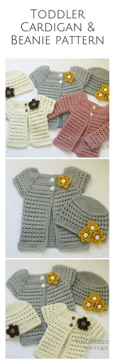 Toddler cardigan and beanie pattern set, perfect for fall! I have an adult version of this and a mommy and me set would be so cute! Afflink