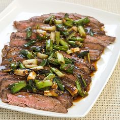 Teriyaki Flank Steak with Scallions Recipe - Cooks Country Coffe Recipes, Beef Recipes, Real Food Recipes, Cooking Recipes, Surimi Recipes, Endive Recipes, Teriyaki Steak, Cooks Country Recipes, Crohns Recipes