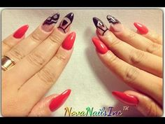 HOW TO: Red Black & Lace Acrylic 8 Nails ♥ - YouTube