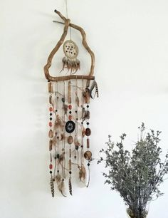 Boho wall hanging triangle dream catcher by handmadebyfofo on Etsy