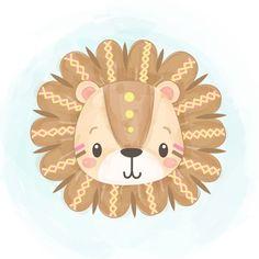 Tribal Lion, Tribal Animals, Safari Animals, Baby Animals, Cute Animal Illustration, Graphic Illustration, Lion Background, Lion Head Logo, Lion Vector