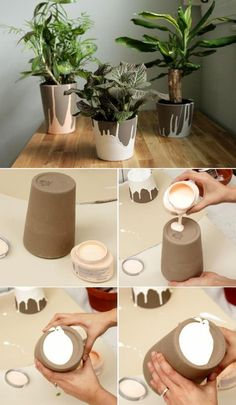 DIY home decor.- DIY home decor. - DIY home decor. Decoration, hot …- DIY home decor. Concrete Pots, Concrete Crafts, Concrete Projects, Diy Projects, Ceramic Tile Crafts, Concrete Design, Diy Décoration, Easy Diy, Diy Crafts