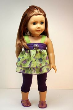 American Girl Doll ClothesRuffled Top and by sewurbandesigns