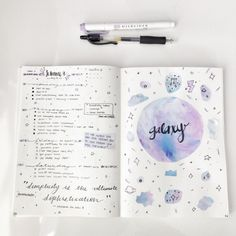 Pastel space bullet journal spread by milk tea studies