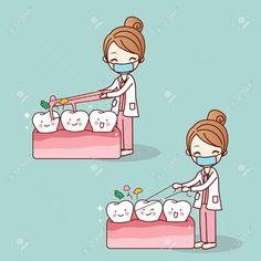 dentist use floss clean teeth - Todo Sobre La Salud Bucal Dentist Cartoon, Dentist Jokes, Dentist Art, Tooth Cartoon, Humor Dental, Dental Hygiene School, Dental Assistant, Dental Health, Dental Care
