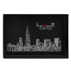 Skyline of Love print from Uncommon Goods (city skyline with names and date of wedding)