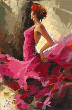 """Story Behind Anatoly Metlan's Flamenco Dancers """"Moments of Silence"""" Oil painting on canvas by Anatoly Metlan. - Park West Gallery""""Moments of Silence"""" Oil painting on canvas by Anatoly Metlan. Oil Painting Abstract, Painting & Drawing, Watercolor Art, Abstract Art, Painting Videos, Painting Classes, Modern Oil Painting, City Painting, Abstract Nature"""