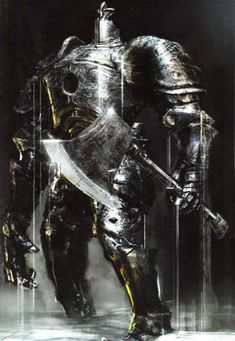 this is another stunning piece created for one of the bosses in dark souls. what i really like about the is how the artist has used extreme dark and light colours in the image. By doing this the light spots of the armour and weapon really stand out making them look very realistic.