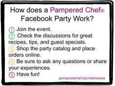 Wondering how a facebook party works with Pampered Chef? Visit and like me at https://www.facebook.com/kaitlynsparley