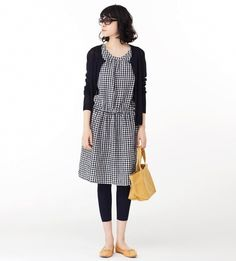Check dress with cardigan