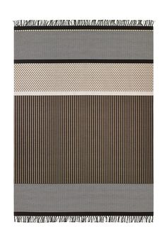 Woodnotes San Francisco paper yarn carpet col. nutria-stone. The San Francisco carpet's design is an asymmetrical combination of different vertical and horizontal stripes and squares. Design by Ritva Puotila   Woodnotes was honoured by the German Design Council: Our San Francisco paper yarn carpets got the ICONIC AWARDS 2017 Interior Innovation - Best of Best award. #interiordesign #homedecor #design #textile #rug #carpet #imm2017