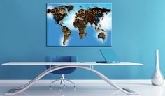 Beautiful cork maps by GLIX Cork Map, Cork Bulletin Boards, Map Art, The Ordinary, Screen Printing, Family Room, Wall Decor, Sky, Traditional