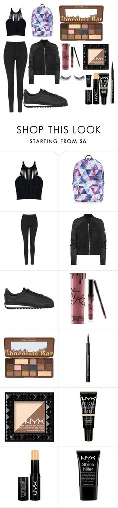 """""""items that are fit for back to school"""" by kerilynn-sombath on Polyvore featuring Posh Girl, Accessorize, Topshop, Rick Owens, NIKE, Milani, NYX and Huda Beauty"""