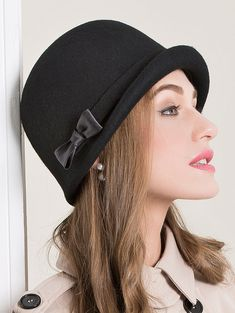 7451fc70440 British style bow cloche hat for women black soft wool hats autumn
