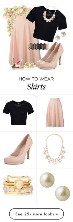 """Midi Skirt"" by clothedinchrist on Polyvore featuring Dr. Denim, Urban Decay, Carolee and Forever 21"