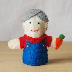 Felt finger puppet Old McDonald farmer by KRFingerPuppets on Etsy, $9.50
