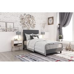 Free Shipping. Buy DHP Janford Upholstered Bed, Gray Linen, Twin $109.56