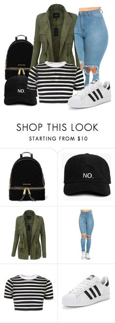 """""""Untitled #41"""" by bvbydest on Polyvore featuring MICHAEL Michael Kors, LE3NO, Topshop and adidas Originals"""