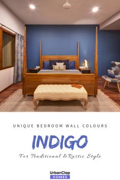 Indigo wall color// Unique Bedroom wall paint colors for Indian Homes Bedroom Wall Paint Colors, Living Room Paint, Home Wall Painting, Indigo Walls, Indian Room, Indian Homes, Awesome Bedrooms, Rustic Style, Paint Colours