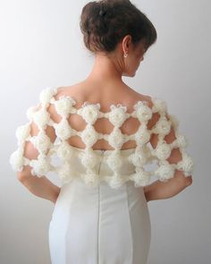 Ready To Ship Ivory Angora Crochet Scarves, Crochet Shawl, Crochet Clothes, Freeform Crochet, Wedding Cape, Wedding Shawl, Bridal Shrug, Bridal Lace, Crochet Flower Tutorial