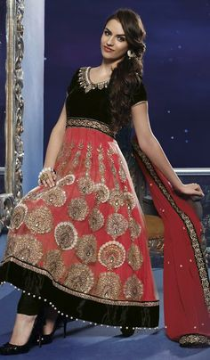 Red Black Net Velvet Embroidered Designer Salwar Suit.    Product Code : G3-LSA103761  Price : INR RS 5702