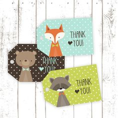 Thank You Tags, Printable Fox Tags, Party Favor Tags with Fox, Bear and Raccoon. These DIY tags would be perfect for a Woodland themed Birthday Party or shower free printable, Party Animals, Animal Party, Woodland Theme, Woodland Baby, Woodland Animals, Fox Party, Baby Party, Alpillera Ideas, Thank You Tags