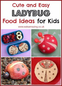 Loads of ladybug themed food ideas for kids - great for party food healthy snacks and packed lunches - from Eats Amazing UK