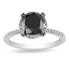 10K White Gold 2 3/4 CT TDW Black and White Single-Cut Diamond Fashion Ring (G-H, I2-I3)