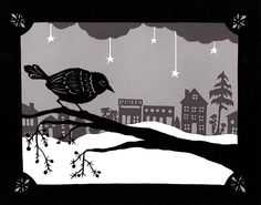 Winter Observer Paper Cut, by Angie Pickman