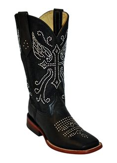 Ferrini Ladies Black Rhinestone Cowgirl S-Toe Leather Cowboy Boots