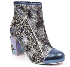 Irregular Choice - Major Tom - Blue/Black - Light up Boot   These gorgeous light up boots will brighten any outfit. with a high block heel and metallic sparkle finish, these are a must have ankle boot.  #irregularchoice #majortom #bowie #glitter #boots