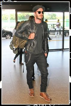 David Beckham wears a Belstaff leather jacket in our outfit of the day