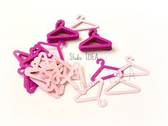 "Mixed Light Pink & Fuchsia  1.5"" Clothes Hanger Cut outs, Scrapbook…"