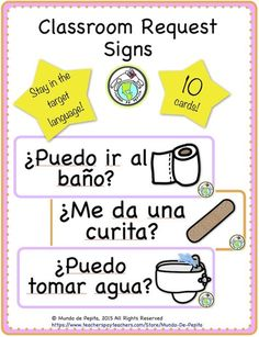 Provide your students with these 10 signs for classroom requests and help them stay in the target language #classroom decor #bulletin board Mundo de Pepita, Resources for Teaching Spanish to Children