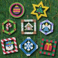 <p>Create eight colorful ornaments for your Christmas tree, wreath, or garland. The elements in the center are suspended with thread for a dimensional effect. These make a great family time activity!</p>
