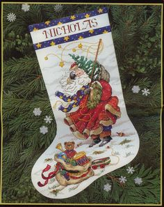 Windswept Santa Stocking Cross Stitch Kit by CountryLifenStitches Santa Cross Stitch, Cross Stitch Christmas Stockings, Cross Stitch Stocking, Christmas Stocking Pattern, Cross Stitch Books, Xmas Stockings, Christmas Cross, Gold Christmas, Cross Stitch Designs